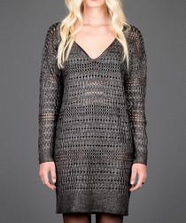 Dark grey crochet-effect v-neck dress