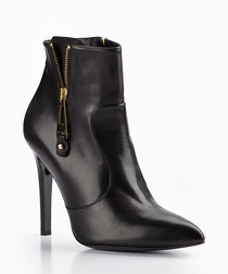 Black zip-up heeled ankle boots