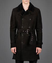 Black sheep skin belted waist coat