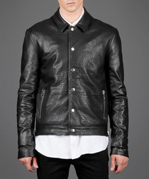 Black leather button-up collared jacket