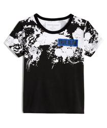 Black paint splatter print cotton top