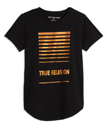 Black & bronze-tone stripe cotton top