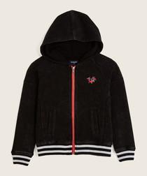 Black striped hem pure cotton hoodie
