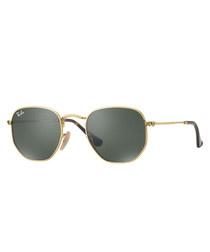 Hexagonal gold-tone & green sunglasses