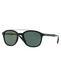 Double-bridge black & green sunglasses
