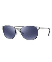 Double bridge gold-tone blue sunglasses