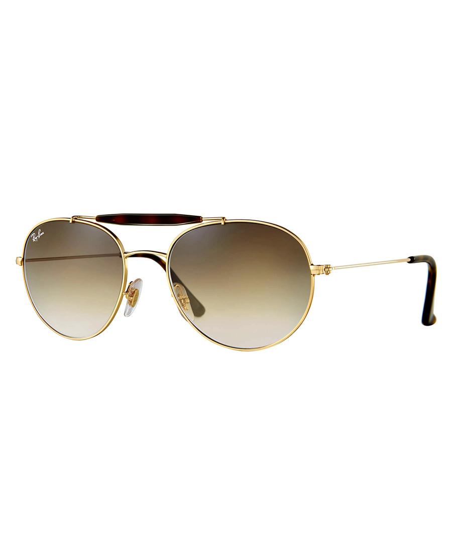 Double-bridge gold-tone brown sunglasses Sale - ray-ban