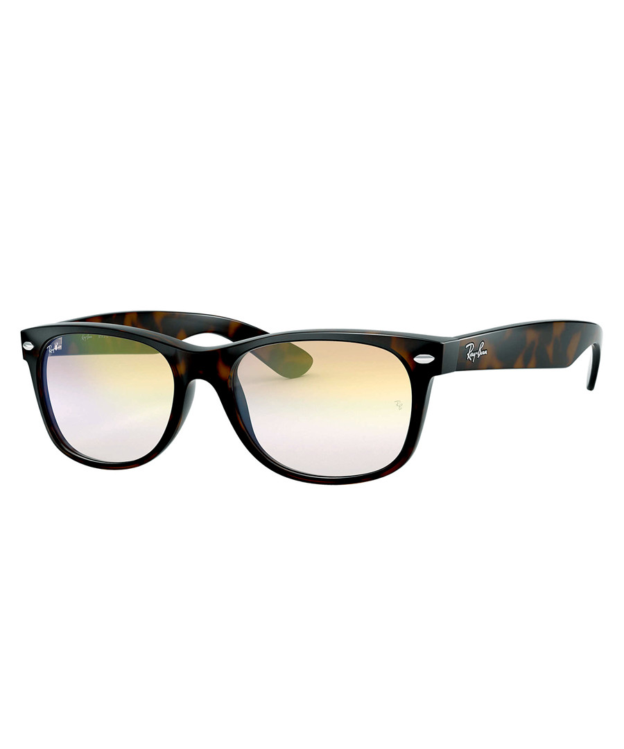 New wayfarer shaded gold-tone sunglasses Sale - ray-ban