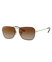 Gold-tone & brown gradient sunglasses