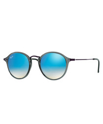 Round fleck blue gradient sunglasses