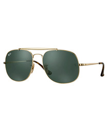 General gold-tone & green sunglasses