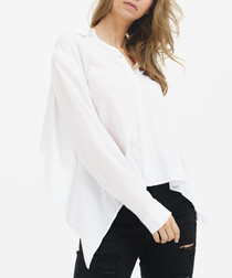White long sleeve asymmetric hem top
