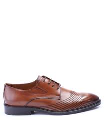 Brown leather stripe toe brogues