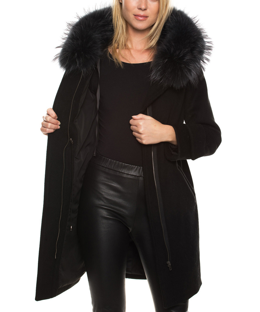 Naiara black wool blend & fur trim coat Sale - giorgio & mario