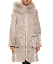 Quezia beige fur & mink blend coat