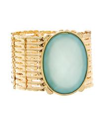 Emerald oval stone statement bracelet