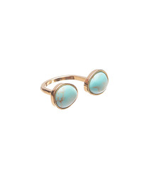 Turquoise double gemstone open ring