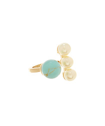 Turquoise & pearl gold filled open ring