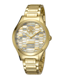 Gold-tone stainless steel hive watch