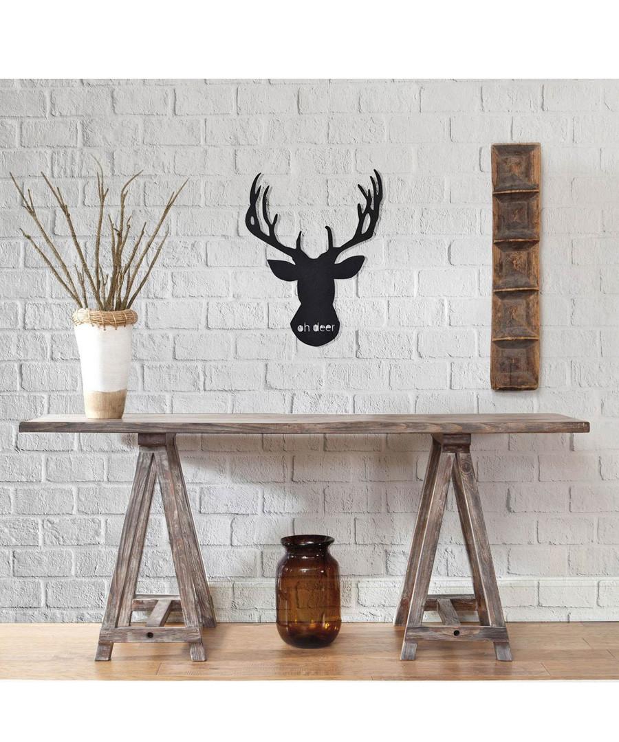Black metal stag silhouette wall art Sale - homemania