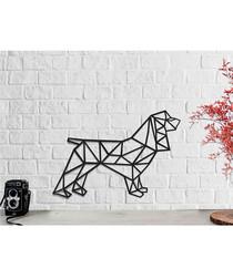 Black metal geometric dog 50x37cm