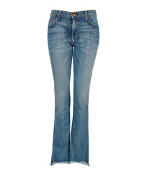 The Cropped mid-wash flared jeans