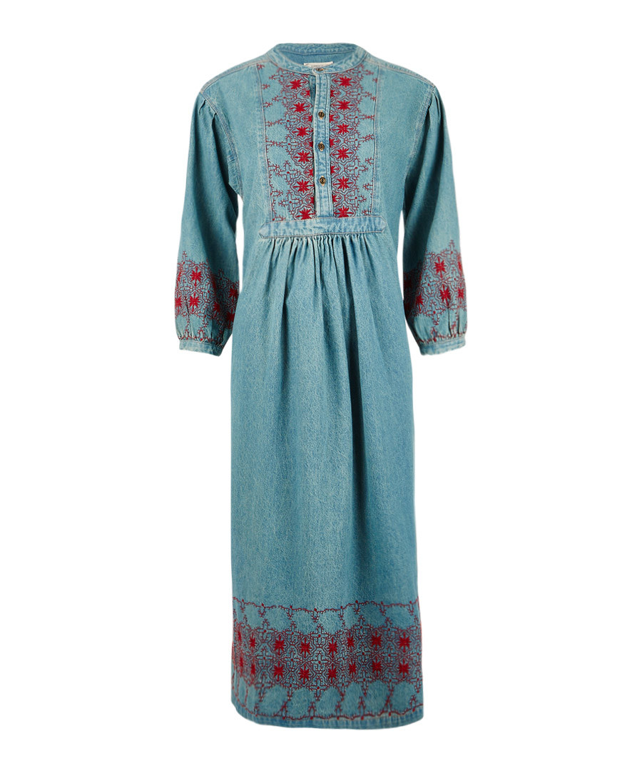 The Embroidered Dress teal cotton dress Sale - Current Elliott
