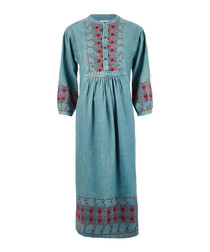 The Embroidered Dress teal cotton dress
