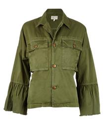 The Ruffle olive cotton blend jacket