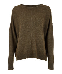 The Destroyed khaki wool & cashmere knit