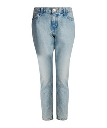 The Cropped light indigo straight jeans