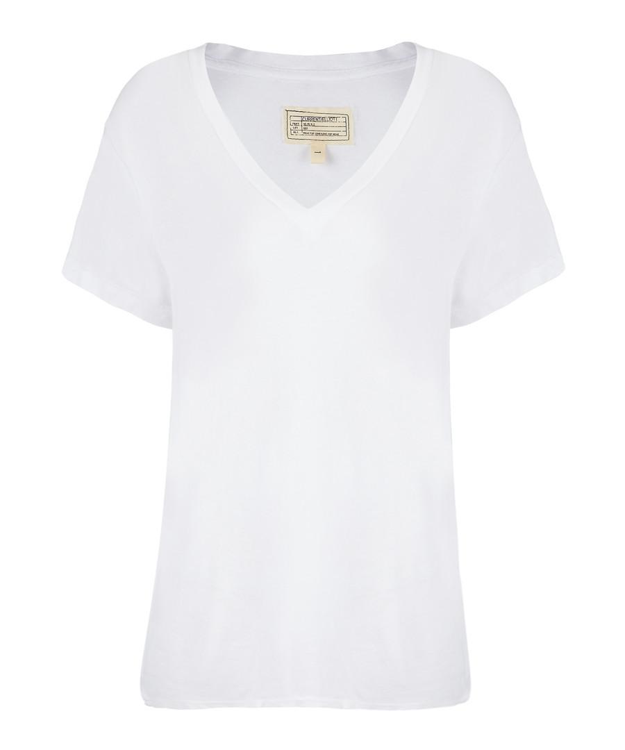The V-Neck ecru pure cotton T-shirt Sale - Current Elliott