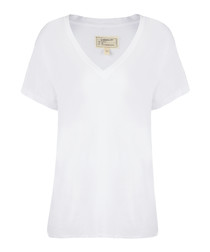 The V-Neck ecru pure cotton T-shirt