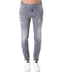 Grey cotton blend distressed jeans