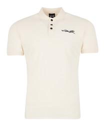 Cream cotton logo polo shirt