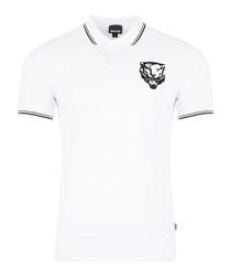 White cotton head logo polo shirt