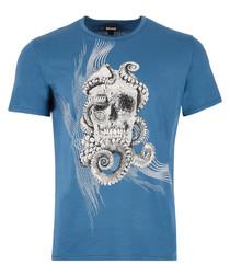 Marine pure cotton skull T-shirt