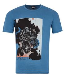 Blue pure cotton tiger T-shirt