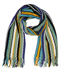 Multi-colour wool blend bars scarf