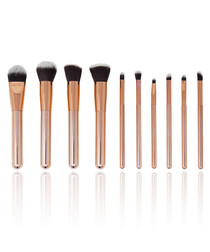 10pc rose gold-tone brush set