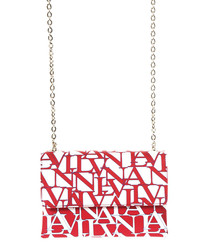 Sugar red leather logo print crossbody
