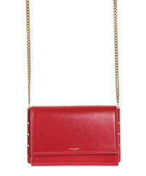 Zoe red leather chain crossbody bag