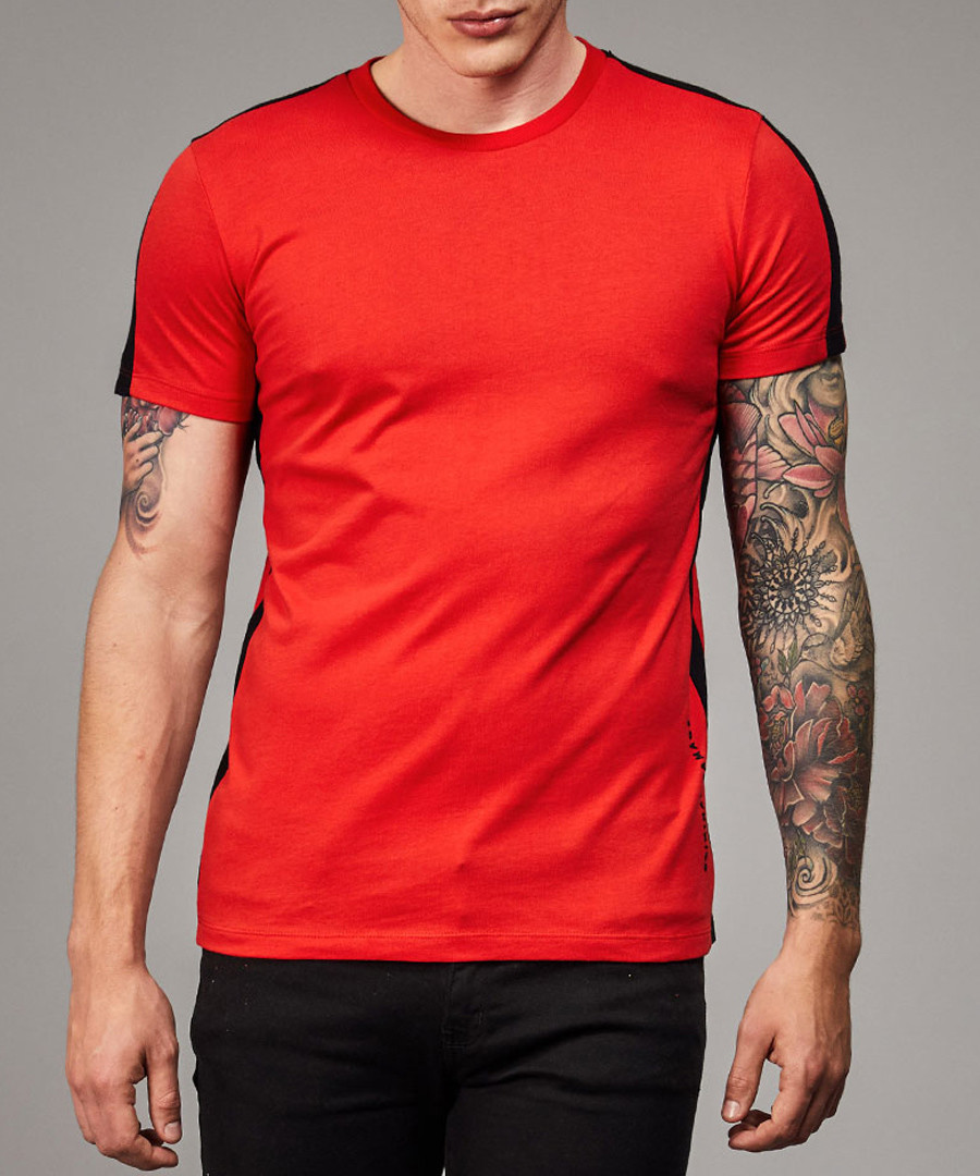 Red & black stripe detail cotton T-shirt Sale - criminal damage