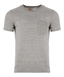 Grey heather cotton blend pocket T-shirt