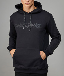 Black pure cotton branded print hoodie