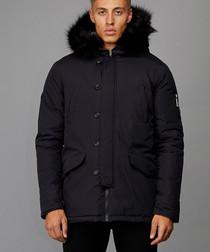 Black faux fur hood parka jacket