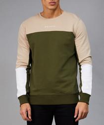Olive & pale pink cotton contrast jumper