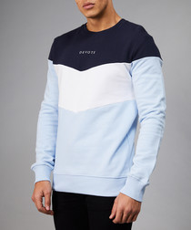 Blue & navy pure cotton contrast jumper