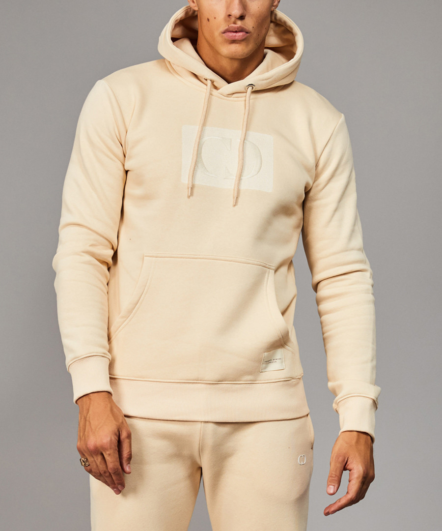 Pale yellow cotton blend logo hoodie Sale - criminal damage
