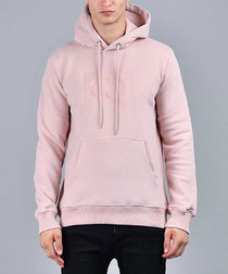 Pink cotton blend logo hoodie